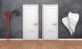 Doors in different places. 3d illustration of two doors in different places Royalty Free Stock Photography