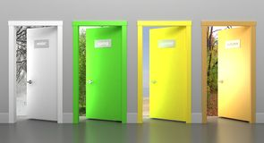 Doors in different seasons Stock Images