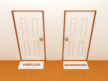 Doors with doormats hello and goodbye Stock Photos