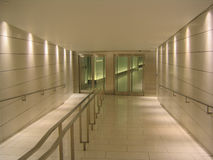 Doors at the end of underground corridor Stock Photography