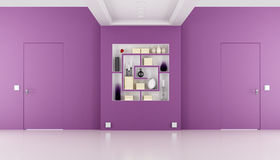 Doors flush with the wall in a purple room Stock Images
