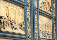 Florence Cathedral Gates of Paradise fragment, Tuscany, Italy stock photography