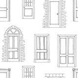 Doors graphic black white seamless pattern sketch illustration vector Stock Image