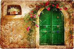 Doors of Greece. Old pictorial greek doors -retro styled Stock Photography
