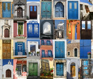 Doors of Greece. Colorful Greek doors collection compilation Royalty Free Stock Image