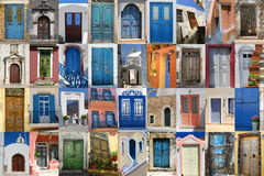 Doors of Greece set. Colorful Greek doors collection compilation Royalty Free Stock Image