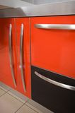 Doors and handles. Doors and handles of modern kitchen furniture Stock Photography