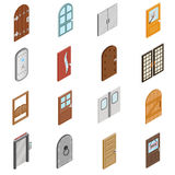 Doors icons set, isometric 3d style Royalty Free Stock Photography