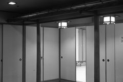 Doors inside the building in black and white, Otaru, Sapporo in Japan. Inside the changing room in Otaru, there& x27;re paper doors connected to each other in Royalty Free Stock Image