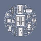 Doors installation, repair banner illustration. Vector line icons of various door types, handle, latch, lock, hinges Stock Photos