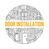 Doors installation, repair banner illustration. Vector line icons of various door types, handle, latch, lock, hinges Royalty Free Stock Photography
