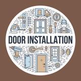 Doors installation, repair banner illustration. Vector line icons of various door types, handle, latch, lock, hinges Royalty Free Stock Image