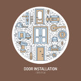 Doors installation, repair banner illustration. Vector line icons of various door types, handle, latch, lock, hinges Royalty Free Stock Images
