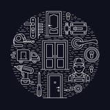 Doors installation, repair banner illustration. Vector line icons of various door types, handle, latch, lock, hinges Stock Image