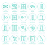 Doors installation, repair line icons.  Stock Photos