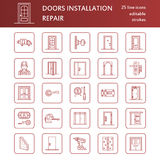 Doors installation, repair line icons. Various door types, handle, latch, lock, hinges. Interior design thin linear Stock Photo