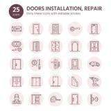 Doors installation, repair line icons. Various door types, handle, latch, lock, hinges. Interior design thin linear Royalty Free Stock Photo
