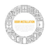 Doors installation signs, repair banner illustration. Vector line icon of various door types, handle, latch, lock Royalty Free Stock Image