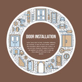 Doors installation signs, repair banner illustration. Vector line icon of various door types, handle, latch, lock Royalty Free Stock Photography