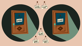 Doors with labels open and closed and other ones Royalty Free Stock Photography