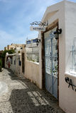 Doors, lanterns and street on Santorini in Greece Royalty Free Stock Photos