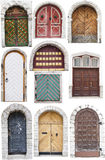 Doors with limestone edges. A set of ten arch style doors with limestone surroundings or edges. Each door is in different color and has different pattern or Stock Photo