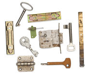 Doors and lock part on white Royalty Free Stock Photography