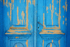 The doors made of wood painted blue royalty free stock photo