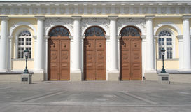 Doors of Manege Exhibition Hall in Moscow closeup Stock Image