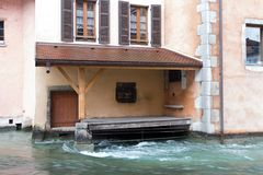Doors near the river in Annecy in winter time Stock Photo