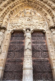 Doors of Notre Dame de Paris cathedral, France Stock Images