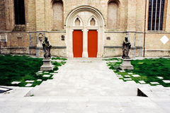 Doors into the old church. In small European city Royalty Free Stock Photography