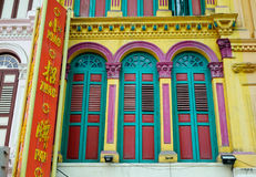 Doors of the old house in Chinatown, Singapore Stock Images