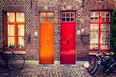 Doors of old houses in Bruges, Belgium Royalty Free Stock Images