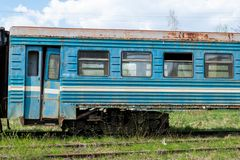 Rusty Soviet train carriage at its last stop stock photos
