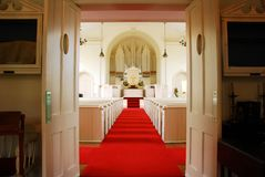 Open Door Policy. The doors are open, giving a welcoming entrance to the Greenfield Church in Connecticut stock photography