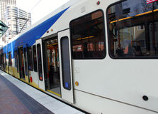 Doors open, light rail transport. Royalty Free Stock Image