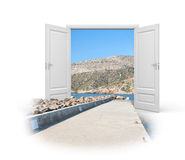 Doors are open for travelers. Concept - the way to holidays. 3d illustration royalty free illustration