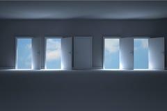 Doors opening in room to show sky Stock Photos