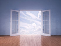 Doors opening to blue skies Royalty Free Stock Images