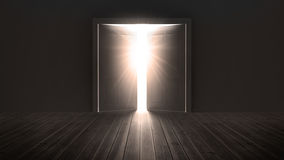 Doors opening to show a bright light Royalty Free Stock Photography