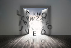 Doors opening to show flying letters Stock Photo