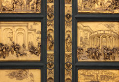 Doors of Paradise detail of The Florence Baptistry. Detail of the Doors of Paradise in Battistero di San Giovanni, Florence, Italy Royalty Free Stock Image