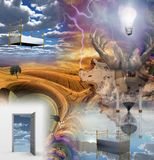 Doors of perception. Dream Surrreal Composition. Human elements were created with 3D software and are not from any actual human likenesses Stock Photography