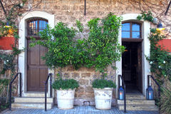 Doors, plants and flowers in a traditional stone mediterranean h. Ouse Stock Photography