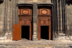 Doors and porch of Chambery's cathedral Stock Photography