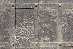 Doors reinforced with iron. Close up Stock Image