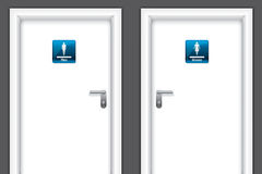 Doors with restroom symbols Royalty Free Stock Photography