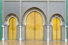 Doors of the Royal Palace in Fes, Morocco. Doors of the Palace of the marrocan King in Fes, Morocco Royalty Free Stock Photography