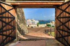Doors of San Cristobal. Beautiful view of fort San Cristobal in San Juan, Puerto Rico royalty free stock image